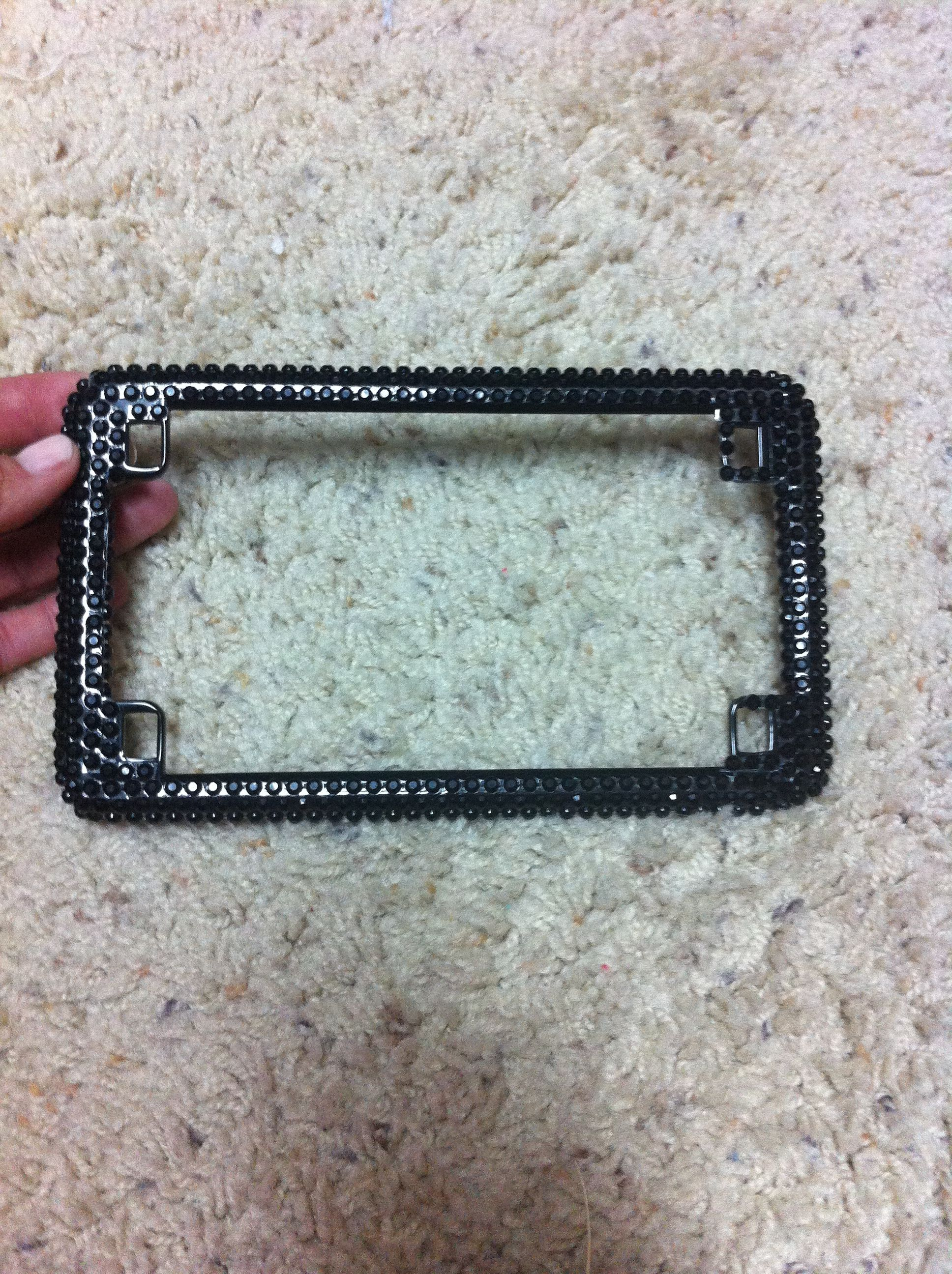 Blinged out my motorcycle license plate frame. Screw It