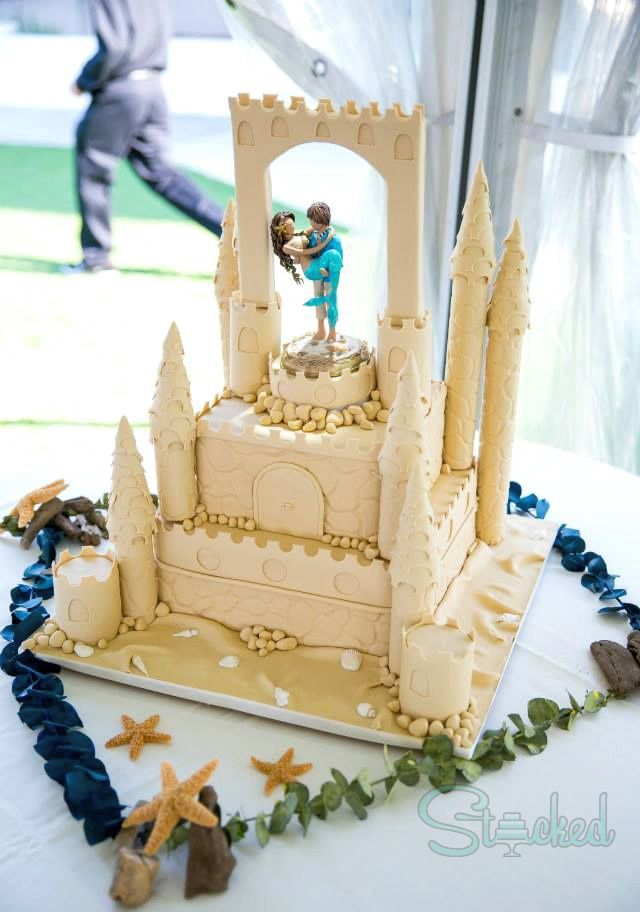 Beach Wedding Cake! Sand castle cake featuring custom topper by ...
