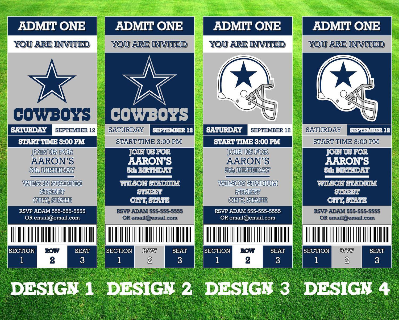 Dallas Cowboys Ticket Invitation Lyam Dallas Cowboys