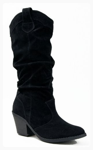 Qupid Womens Mid Knee Western Cowboy Combat Stacked