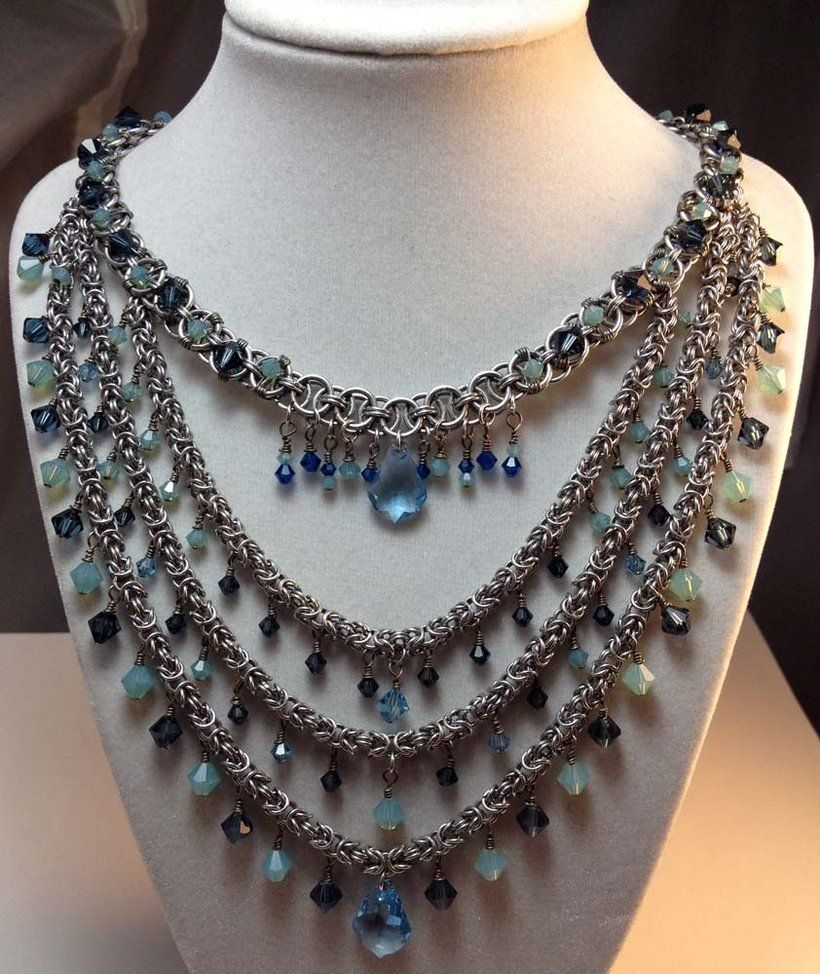 Collar de Kristalchains chain maille Jump ring jewelry