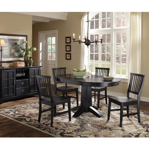Home Styles Arts & Crafts Round Dining Table  Black  For The Beauteous Arts And Crafts Dining Room Set Inspiration