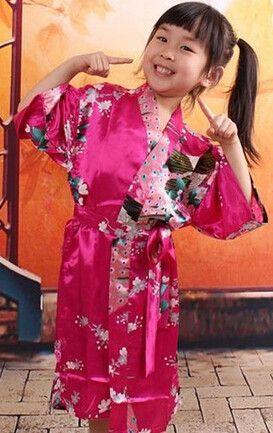4685930c75b RB009 Peacock Kids Robe Satin Children Kimono Robes Bridesmaid Flower Girl  Dress Silk children s bathrobe Nightgown Kimono robe