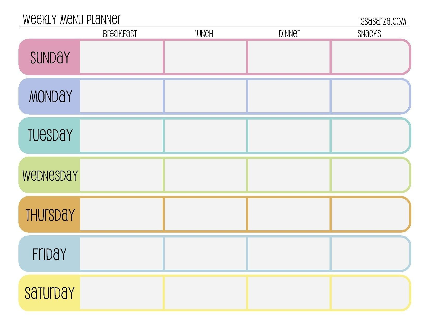 Unique Weekly Meal Planner Template With Grocery List