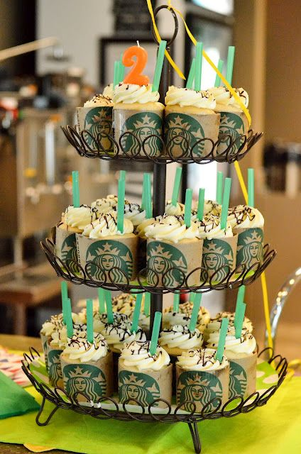 Starbucks Cupcakes There Is A 2 Candle On Top With