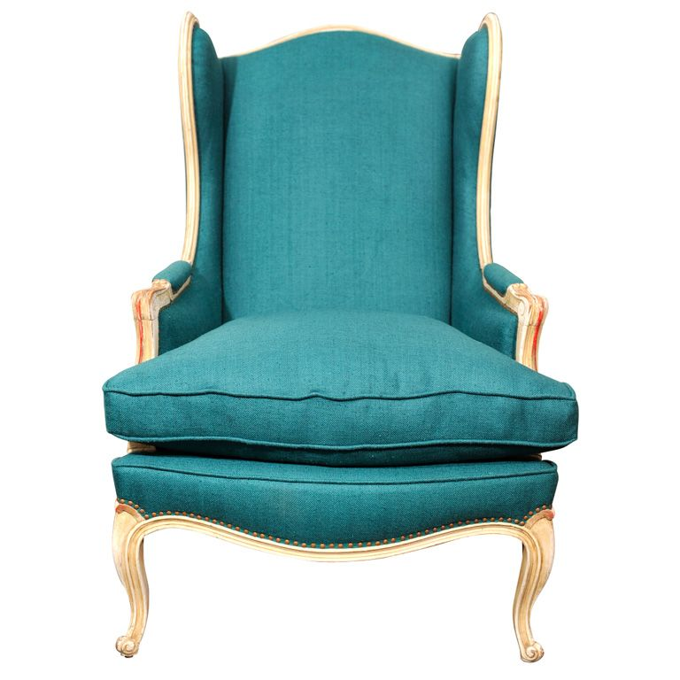 French Teal Linen Wingback Chair - find old chairs, have them