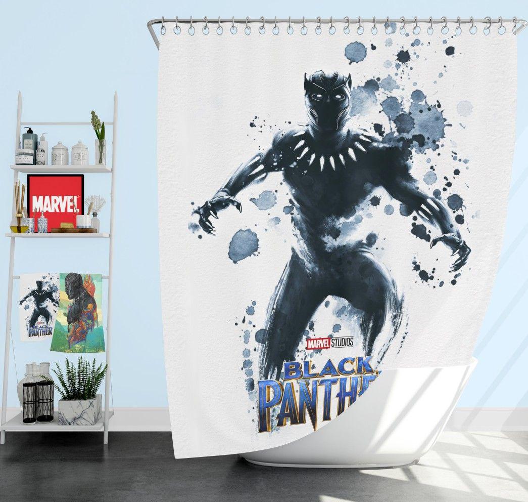 Black Panther The Noble Avenger Shower Curtain Superhero Bedding