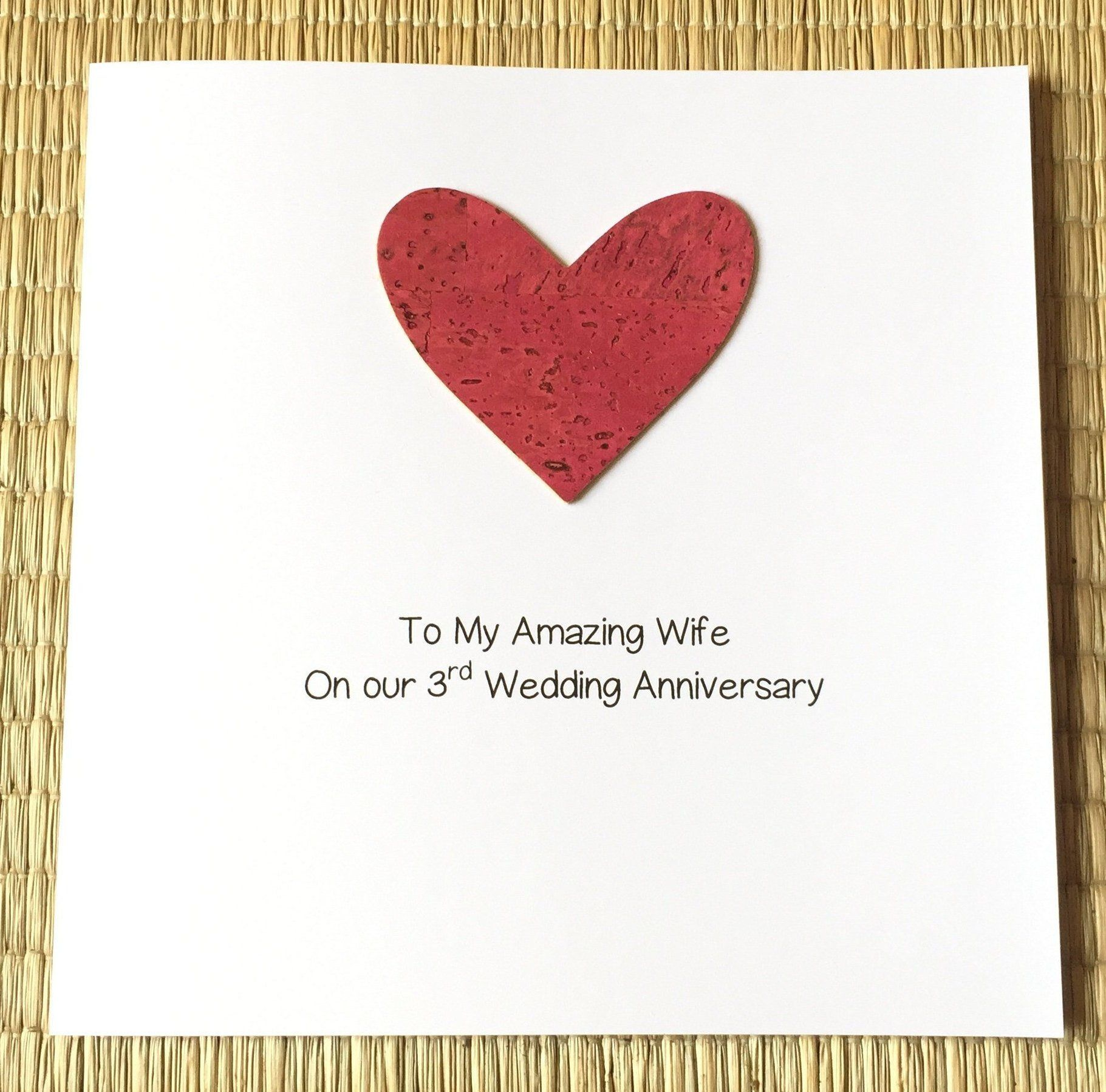 3rd wedding anniversary card vegan cork leather