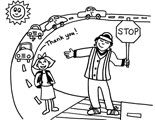 Crossing Guard Lollipop Lady Colouring Page School Coloring