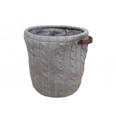 Grey Round Wool Knit Storage Baskets