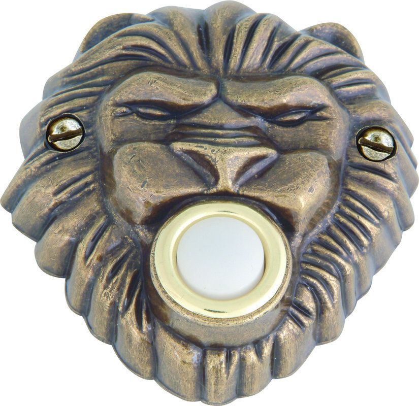 Atlas Homewares DB639 Renaissance Collection 3 Inch Lion's Head Lighted Door Bel