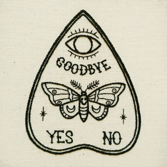 PDF pattern - Ouija Planchette with Moth - Butterfly detail Hand Embroidery Pattern (PDF pattern - modern embroidery pattern)