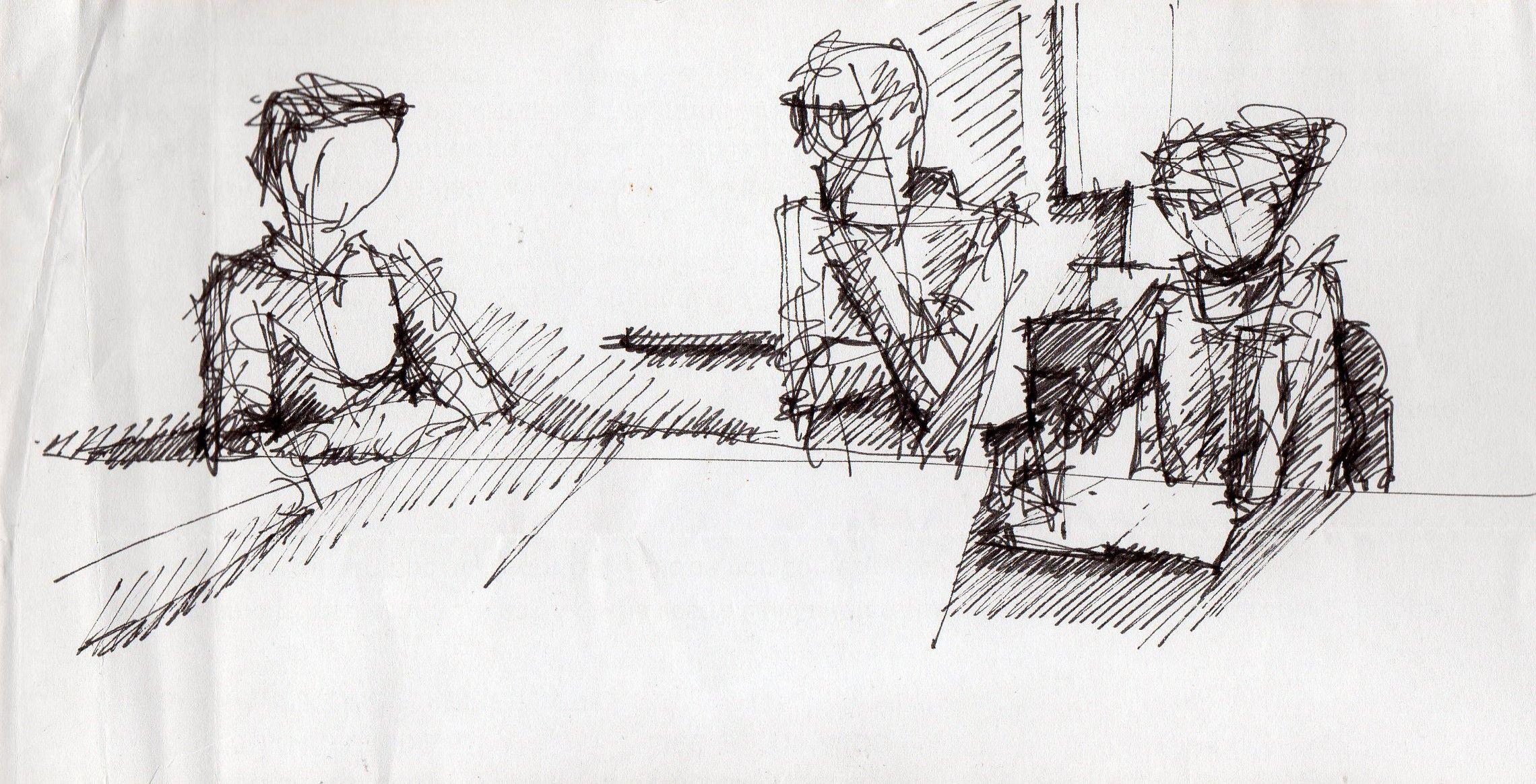 Francesco, Gianpiero e Graziella a Matera #inkpen #Matera #architecture #working #drawing