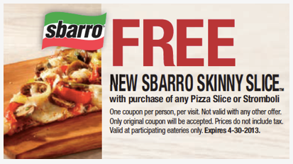 Small pizza slice free with your regular slice at Sbarro