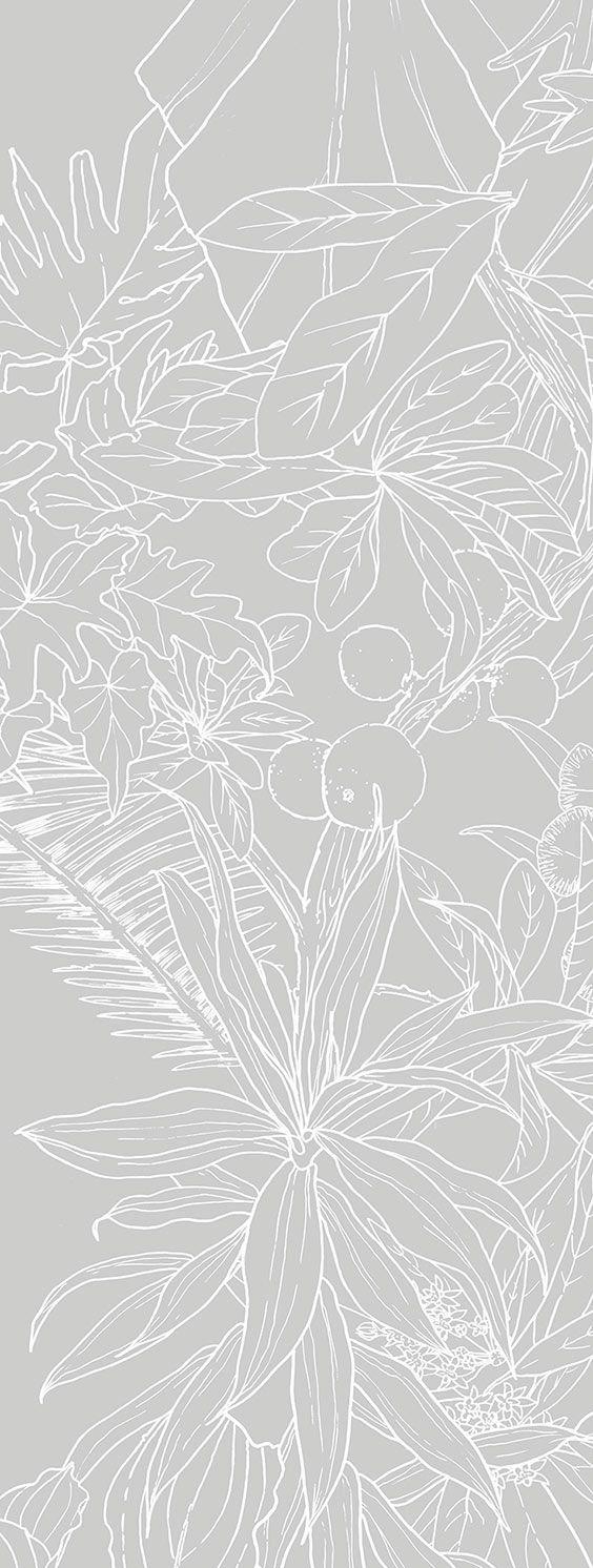 ohmywall papier peint jungle tropical fond gris big. Black Bedroom Furniture Sets. Home Design Ideas
