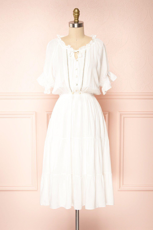Kailian White Tiered Midi Dress In 2021 Midi Short Sleeve Dress Tiered Midi Dress Dresses [ 1500 x 1000 Pixel ]