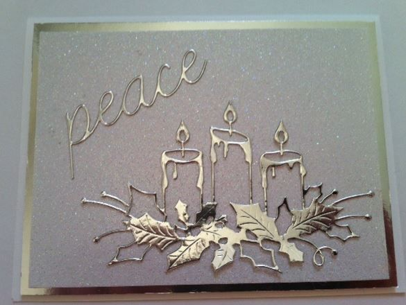 Simple Christmas Card Using Memory Box Dies Memory Box Peace Script Memory Box Glowing Can Memory Box Glowing Candles Cards Boxed Christmas Cards Candle Cards