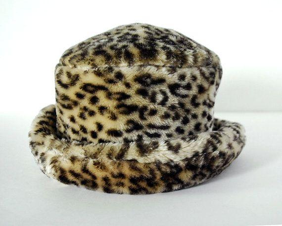 80a87d6c Vintage Leopard Faux Fur Bucket Hat Womens Fashion Accessories ...