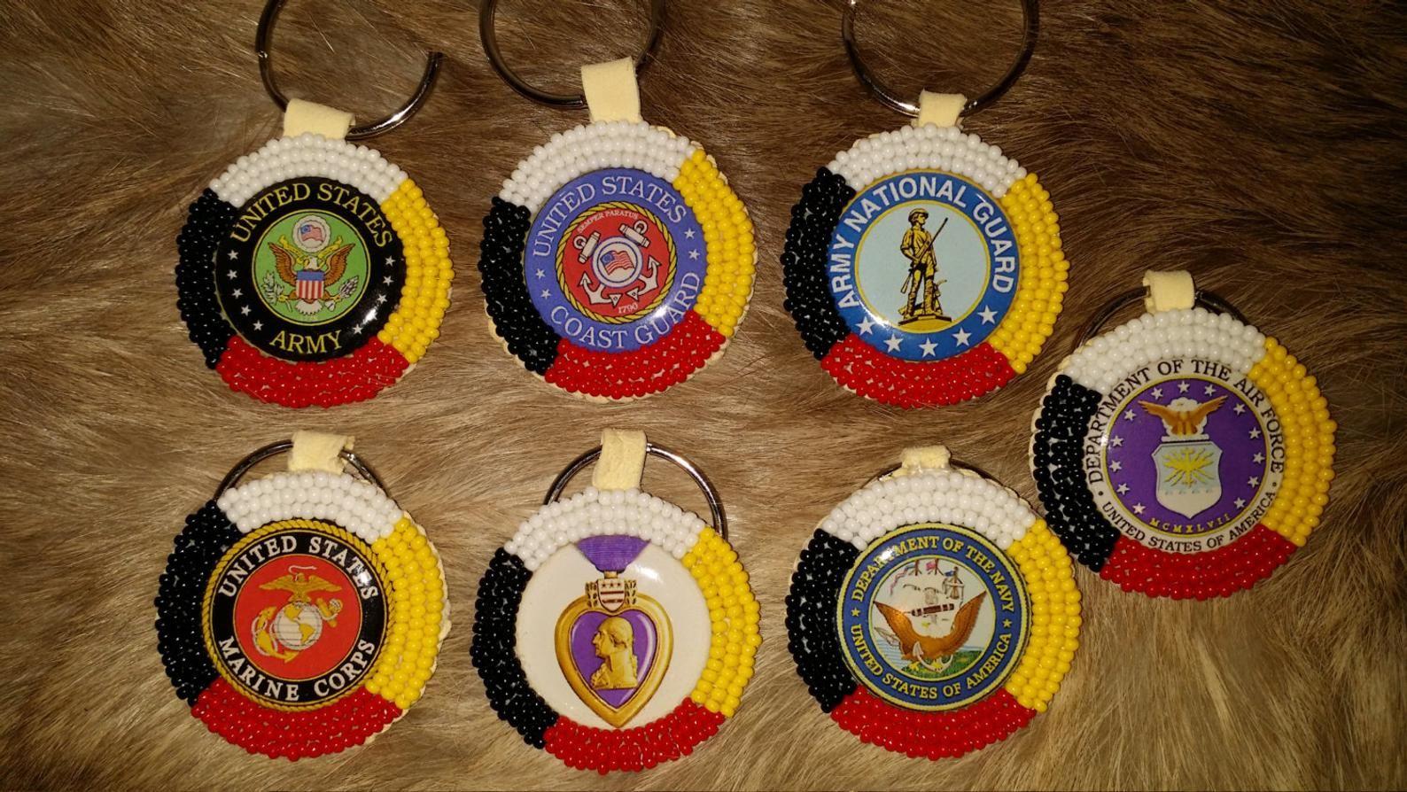 Native American Beaded Veteran Military Medicine Wheel