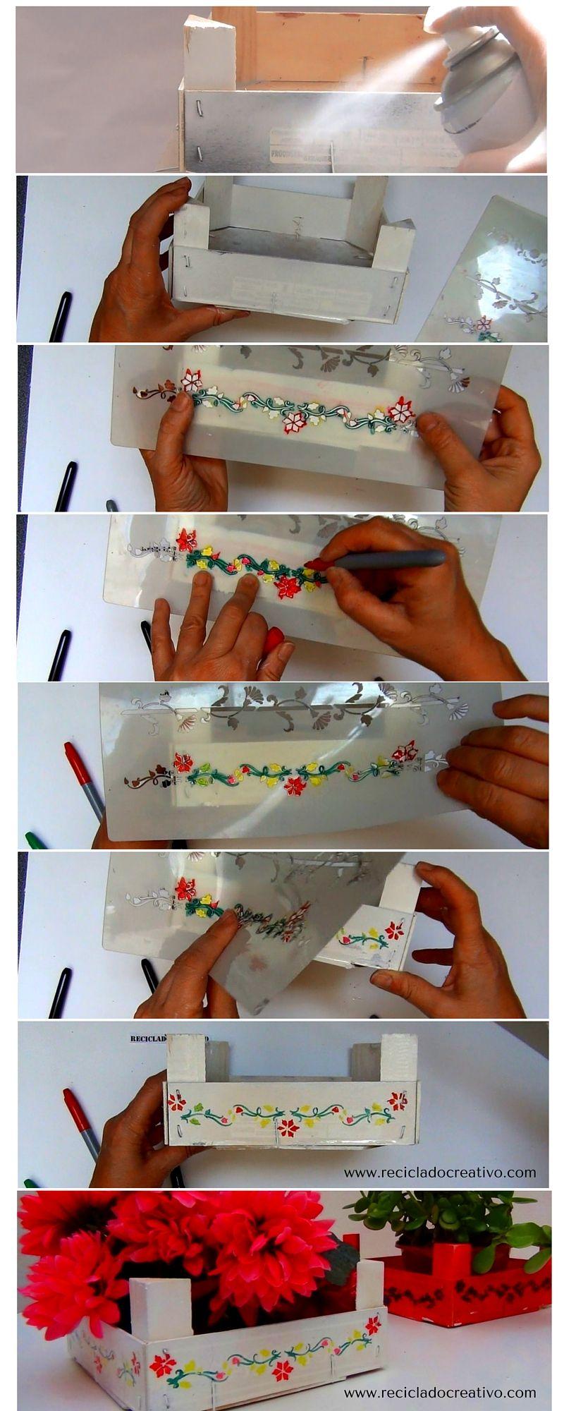 Reciclaje de cajas de fresas pontadas con plantillas