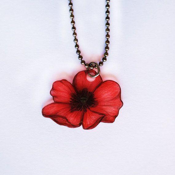 Original drawing poppy necklace remembrance poppy armistice day items similar to original drawing poppy necklace remembrance poppy armistice day anzac poppy flower ooak wearable art on etsy mightylinksfo