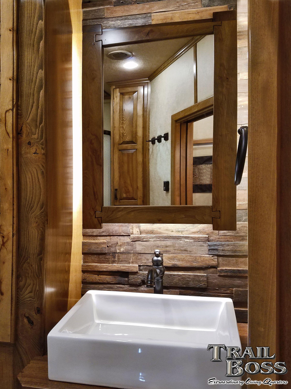Floating Backlit Medicine Cabinet Over Reclaimed Wood Backsplash With Porcelain Vessel Sink Trail Boss Horse Trailer Living Quarters Luxury Living Rv Remodel