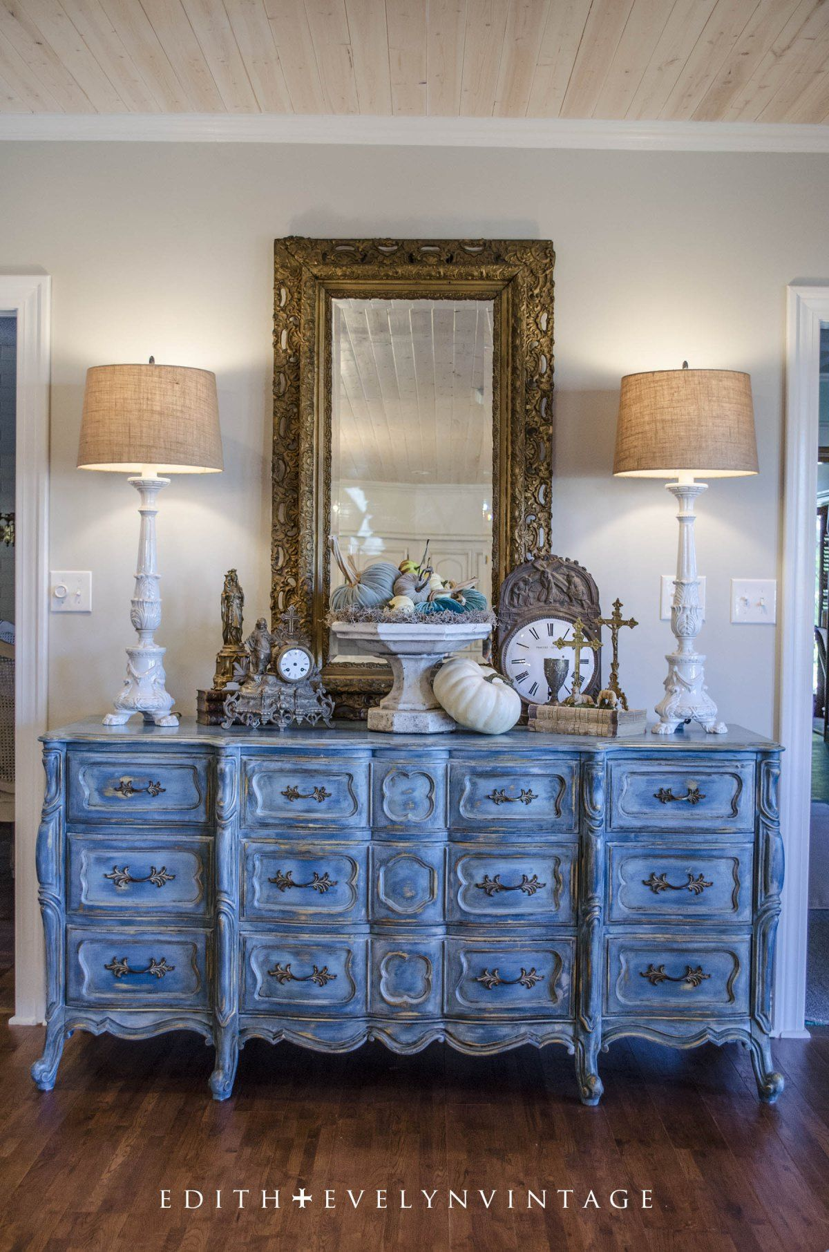beautiful blue buffet and gold mirror | Dining Area | Pinterest ...