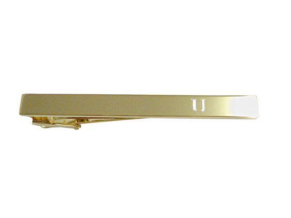 Gold Toned Etched Letter U Monogram Collar Stays