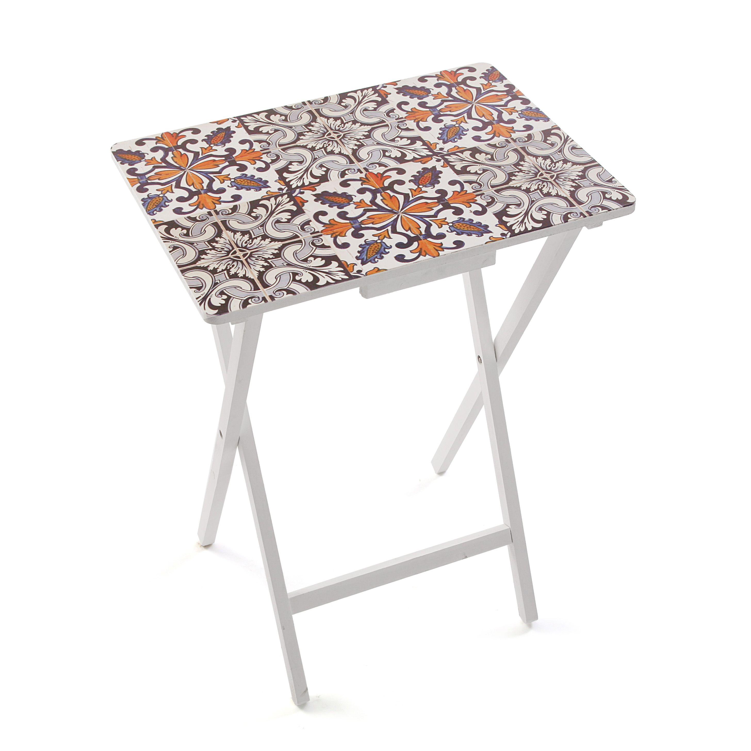 mesa plegable con estampado de baldosa mesa baldosa casa versa foldable