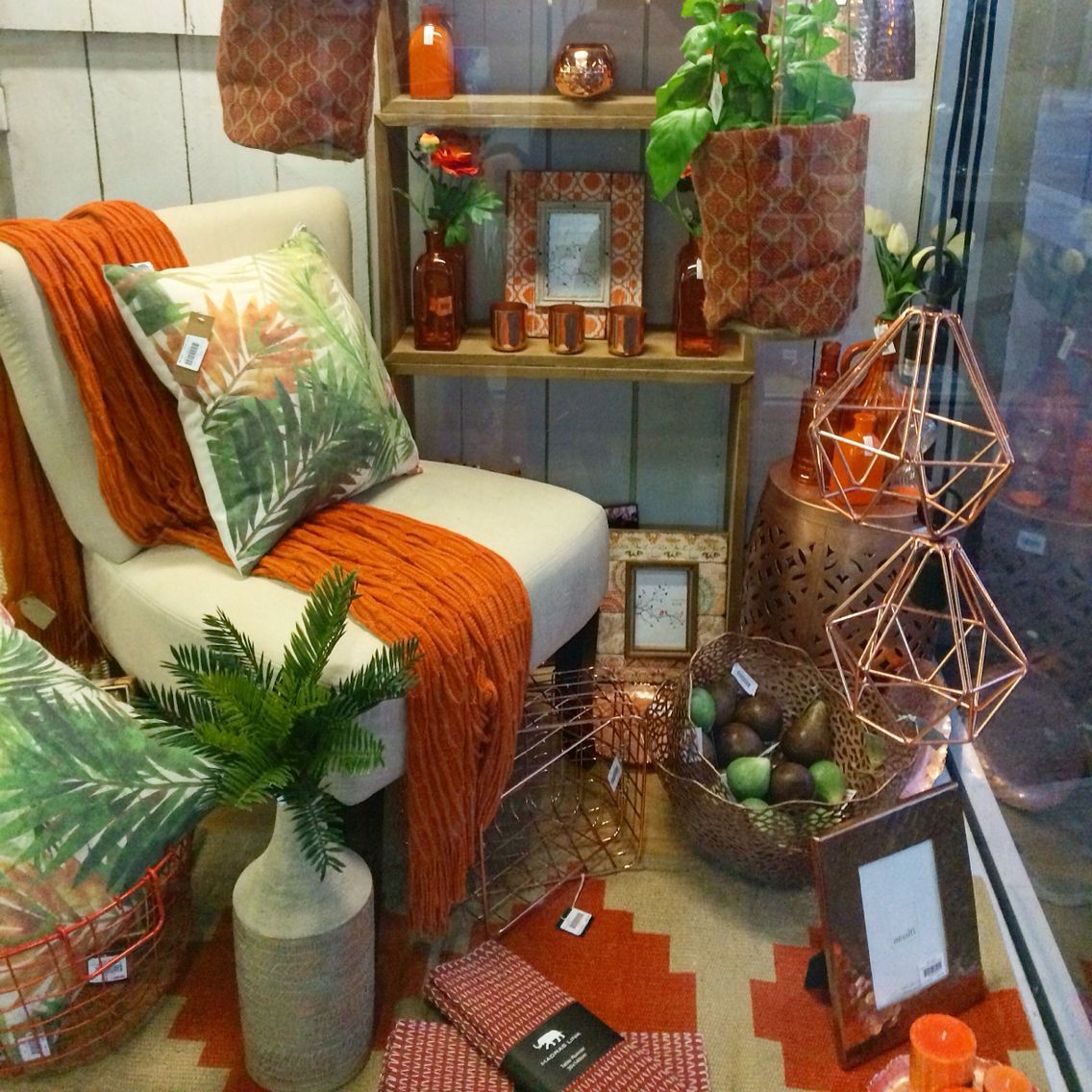The Decorating Store: Orange And Copper Shop Display. New Window Display At