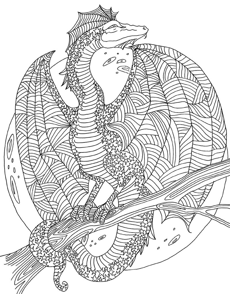 Zendoodle Coloring Majestic Dragons Blank coloring