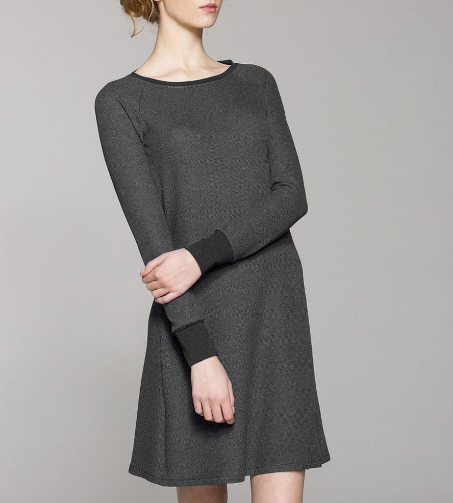 Long Sleeve Thermal Waffle Knit Dress Clothes Dresses Fashion [ 986 x 888 Pixel ]