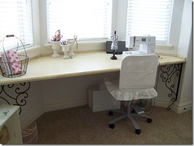 sewing desk table at a bay window i wish i knew how to make rh pinterest com bay window desk uk bay window desk ideas