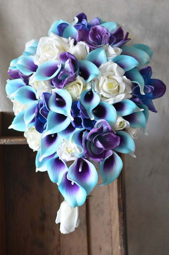 Blue Purple Orchids Callas Roses Wedding Package --Real Touch Flowers Bridal Bouquets Bridesmaids Bouquets #bridesmaidbouquets