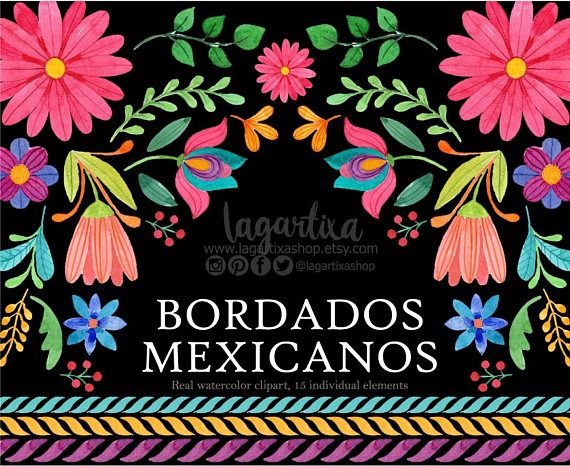 Mexican Watercolor Floral Clipart Otomi Png Mexican Party Flowers Folk Clip Art Hand Painted Cinco De Mayo Folk Embroidery Mexican Flowers Mexican Party