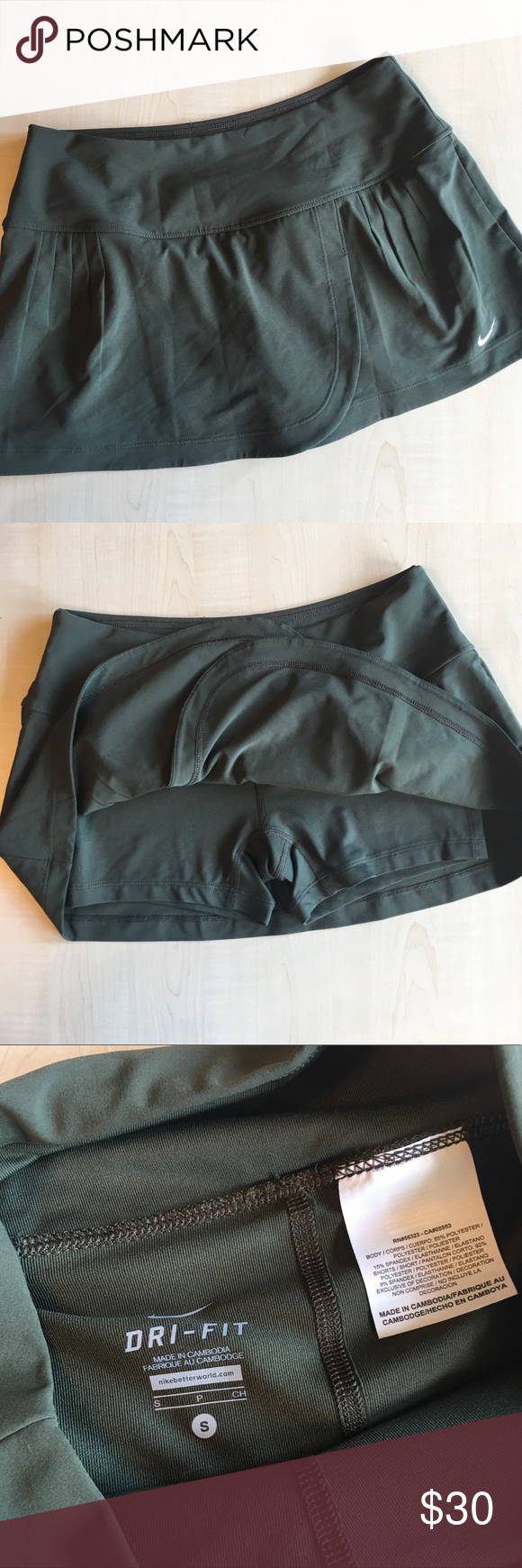 Nike Dri Fit Skort Athletic Skirt NWOT Nike Dri Fit Athletic Skort Skirt   Color: Olive Green  -A12- Nike Skirts