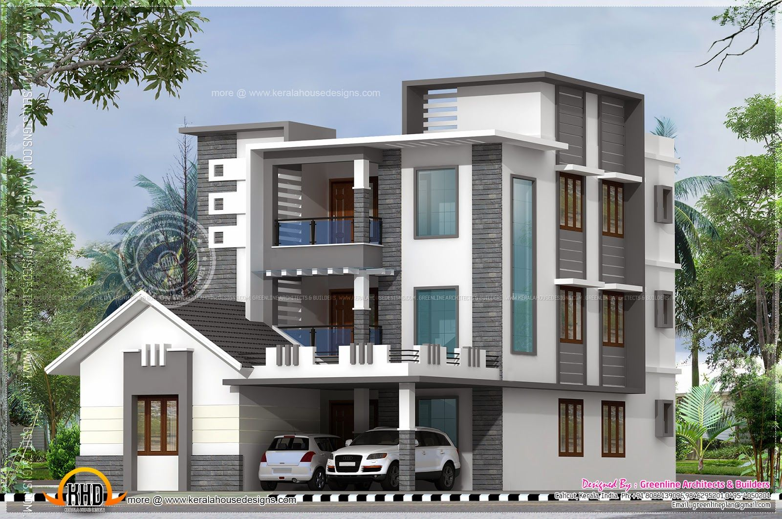3600 square feet 8 bedroom three storied modern contemporary house design by greenline architects builders calicut kerala