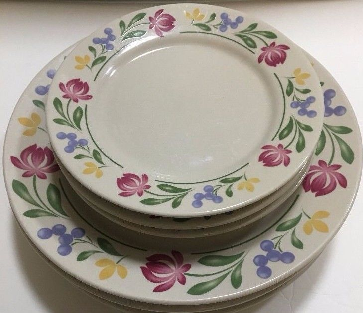 Farberware Stoneware Dorchester 4 Dinner 4 Salad 4soup White Plate