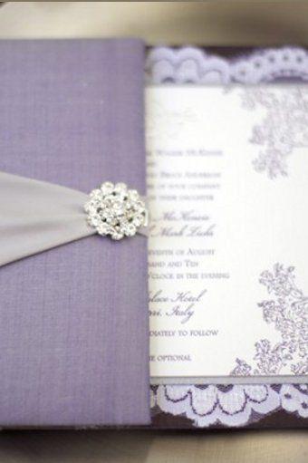 Purple And Pearl White Lace Wedding Invitation