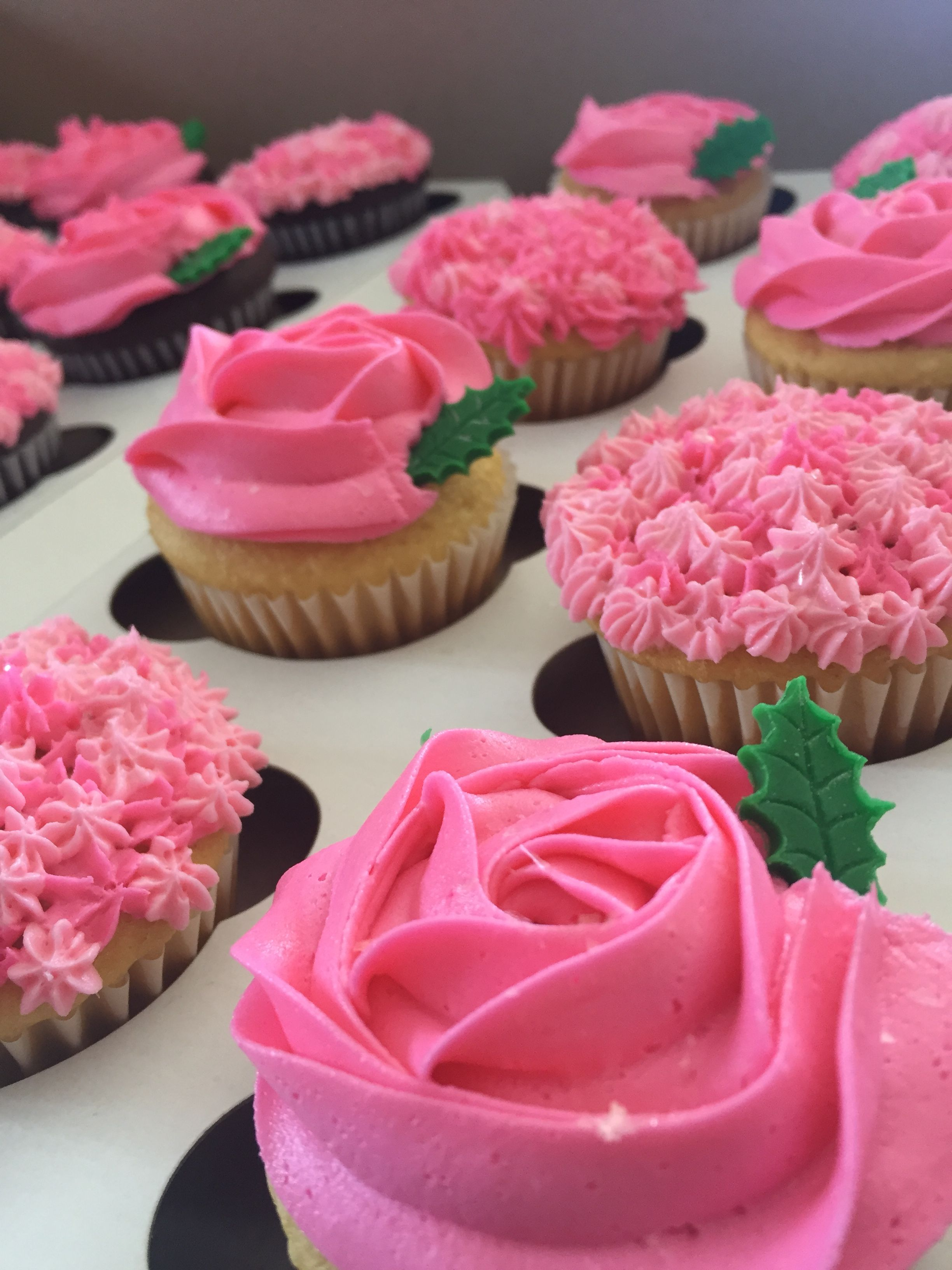 Pretty Pink Flower Cupcakes With Fondant Leaf Detail From Custom