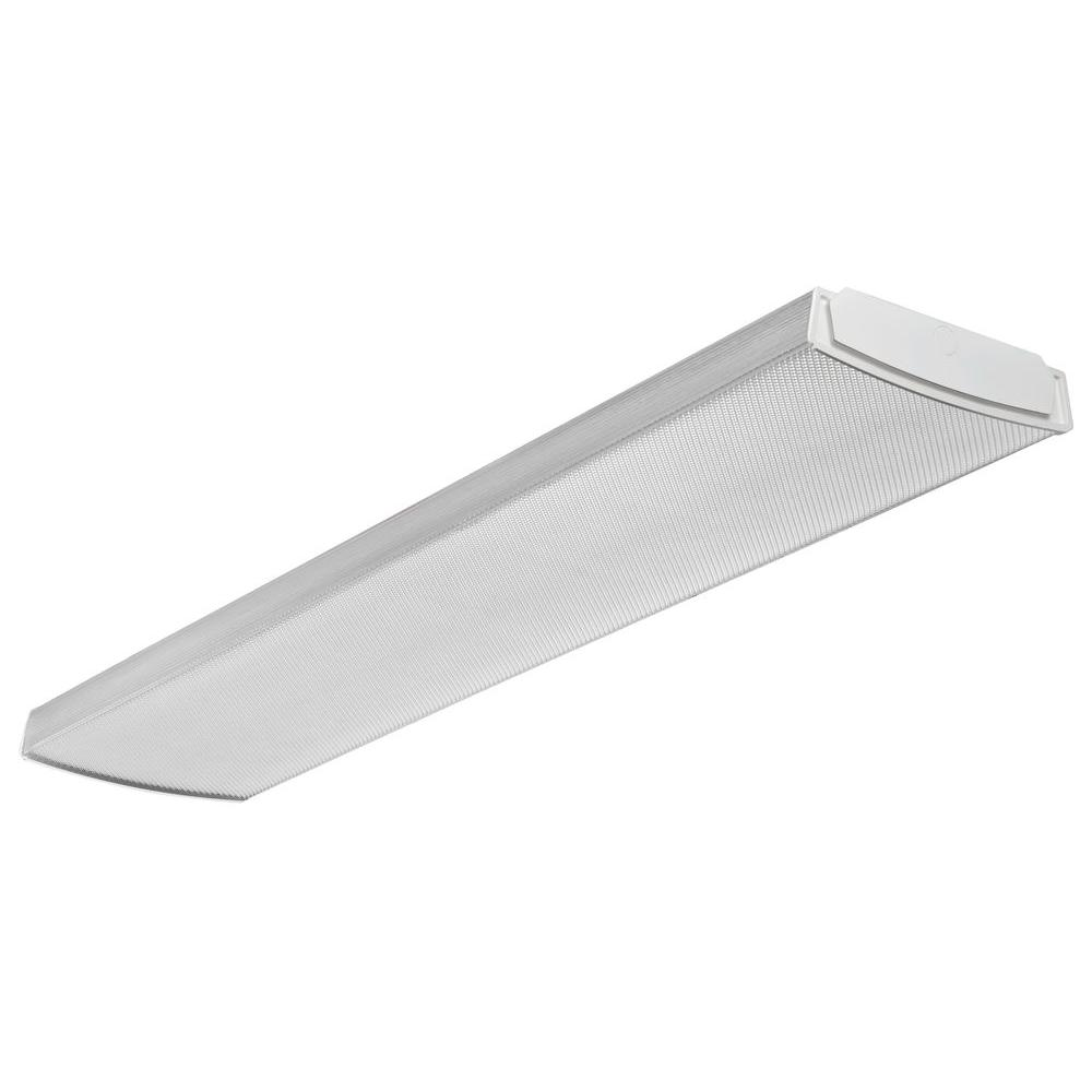 Lithonia Lighting 4 Ft 41 Watt White Integrated Led Low Profile Wraparound Flushmount Lbl4 The Home Depot Wraparound Lights Lithonia Lighting Led Light Fixtures