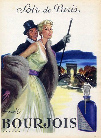 bourjois perfumes 1956 arc de triomphe soir de paris raymond br not vintage perfume ads. Black Bedroom Furniture Sets. Home Design Ideas