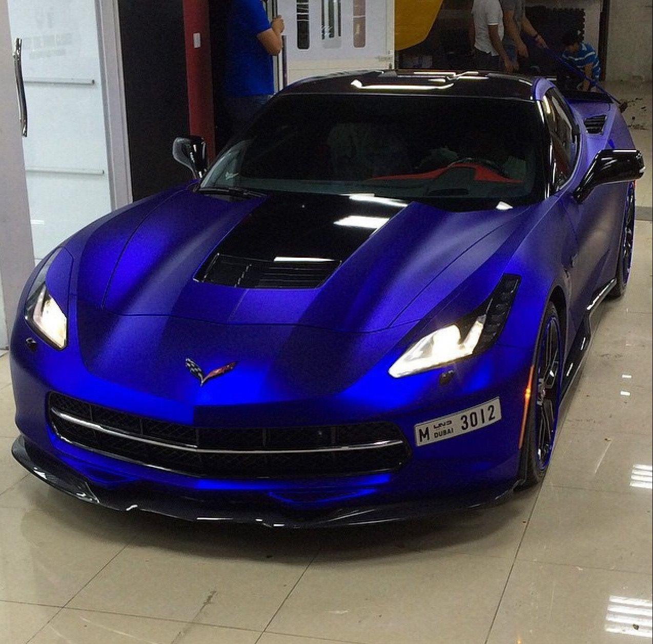 Matte chrome chevy corvette vinyl wrap car chrome cars
