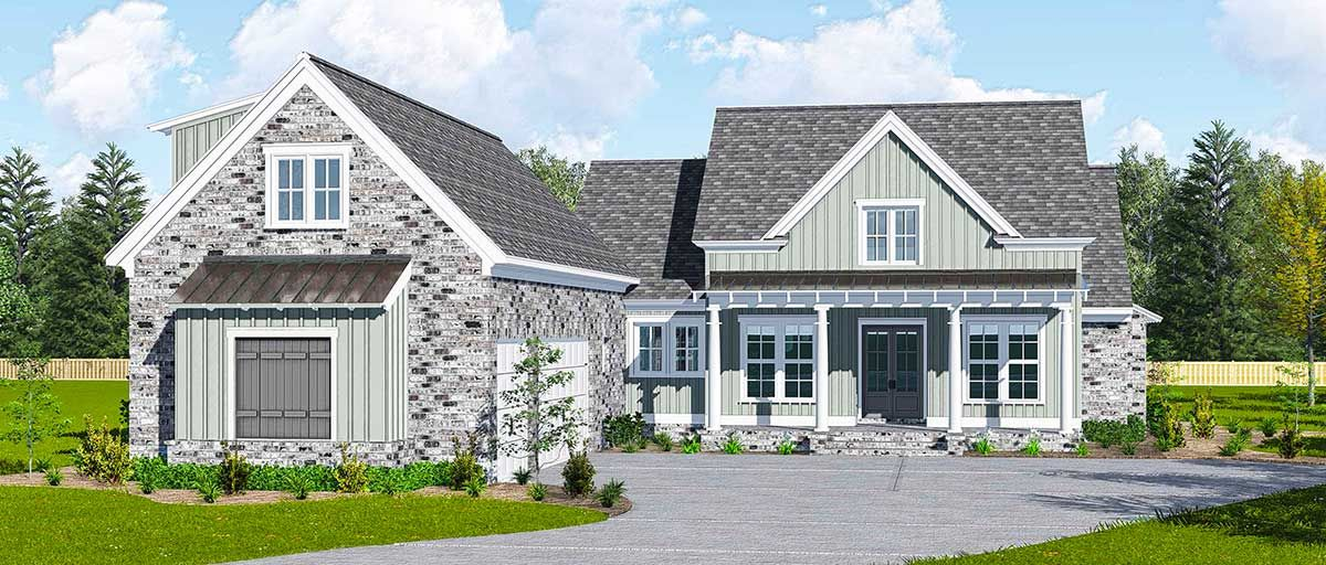 Plan 510027wdy Modern Farmhouse Plan With Courtyard Garage And Bonus Above Courtyard House Plans Modern Farmhouse Plans Farmhouse Plans