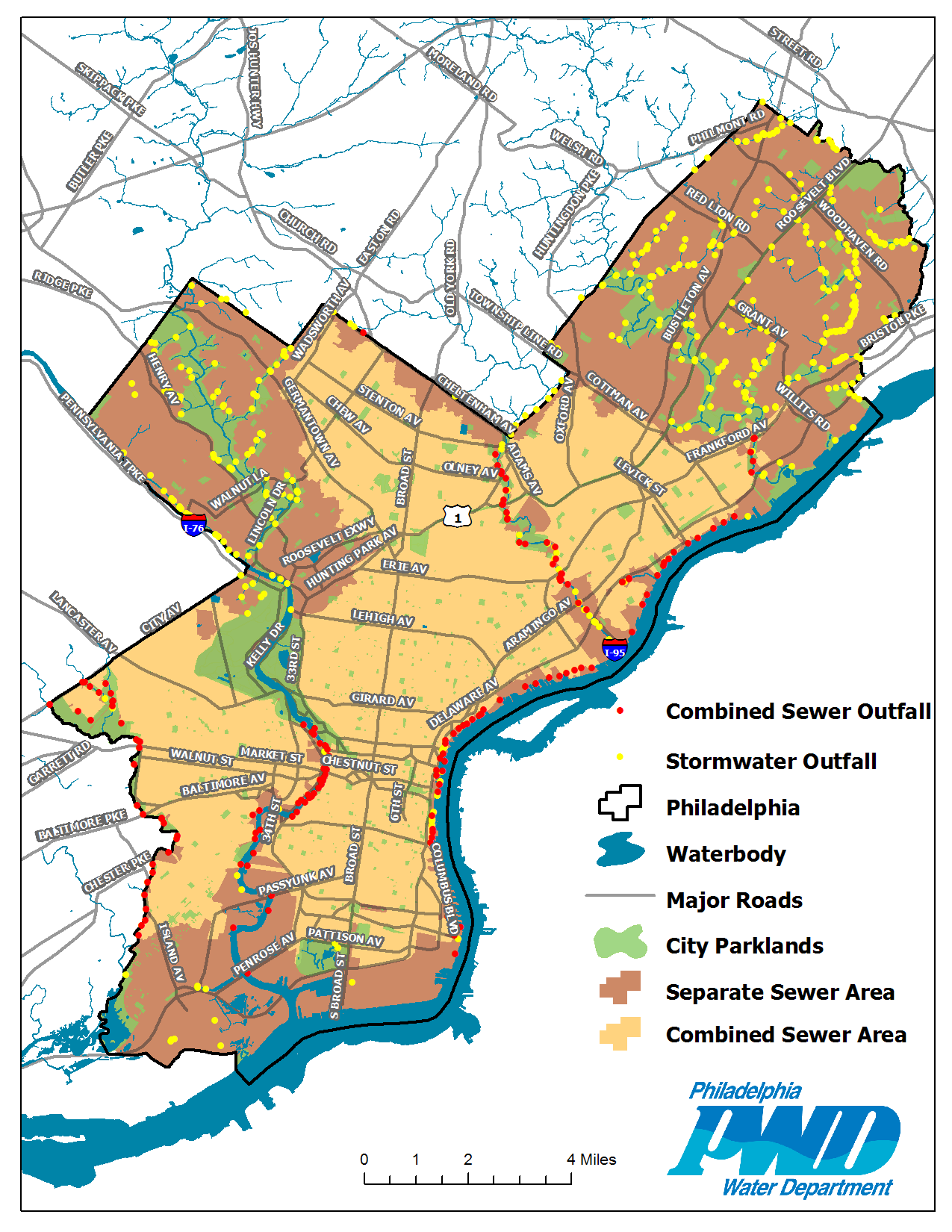 Combined Vs Separate Sewers Research Philadelphia Map Water - Philadelphia-on-the-us-map