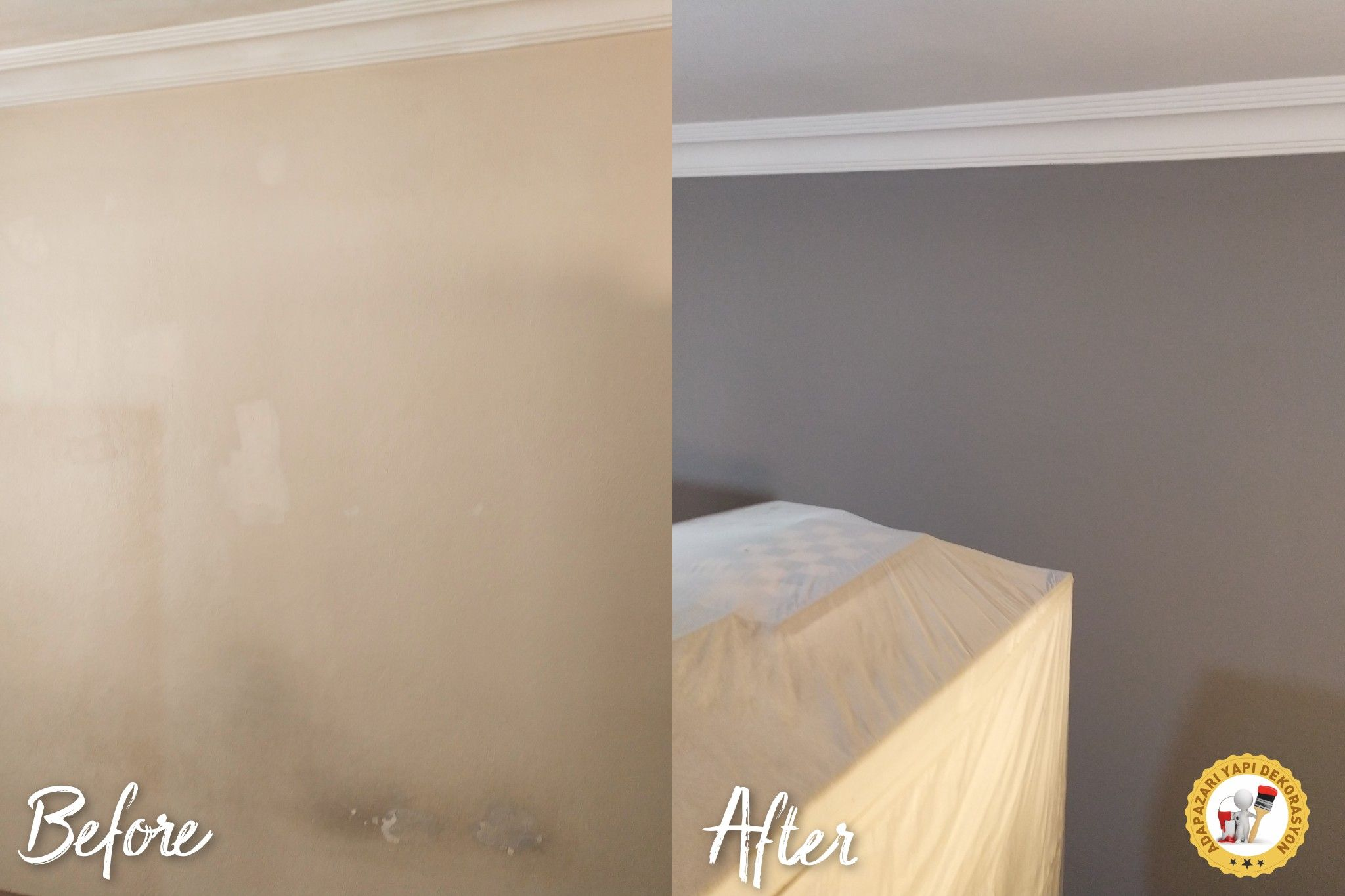 İÇ CEPHE BOYA UYGULAMASI Tavan / Duvar boya Sıva Ahşap kapı tamirat ve boya Yalıtım izolasyon Tam silinebilir, kokusuz, kabarma dökülme yapmaz ve antibakteriyel özellikli boya uygulaması. Cu X141-01 polisan elegans extra mat Anahtar teslim tadilat projeleri için iletişim; ☎️05415995499 Polisan Home Cosmetics Adapazarı Yapı Dekorasyon ®  boya  içtasarımvedekorasyon  tadilat  yenileme  homedesign  anahtarteslim  proje  gri