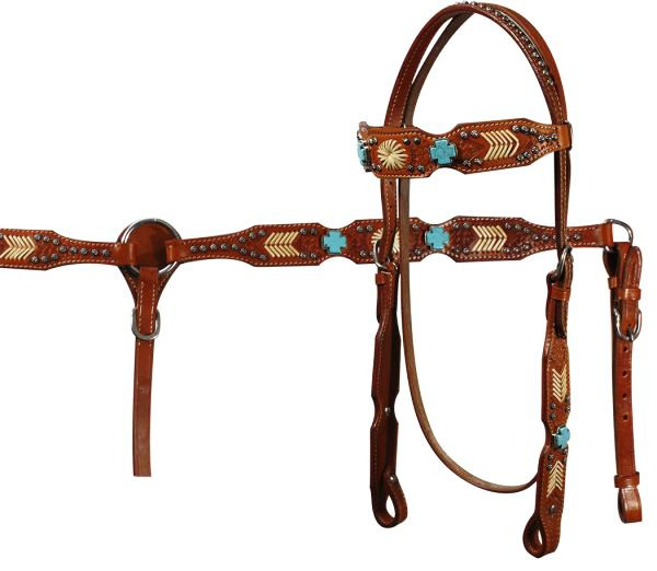 Showman Black Leather Headstall Breast Collar /& Rein Set w// Turquoise Crosses