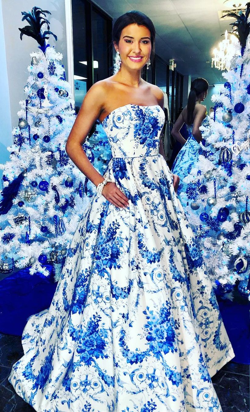 Gorgeous Strapless White And Blue Printed Ball Gown With Pockets Floral Prom Dresses Prom Dresses Formal Party Dress [ 1347 x 820 Pixel ]