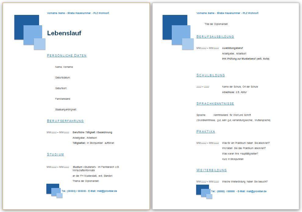 Gratis Lebenslauf Muster, Vorlage, Beispiele kostenlos downloaden ...