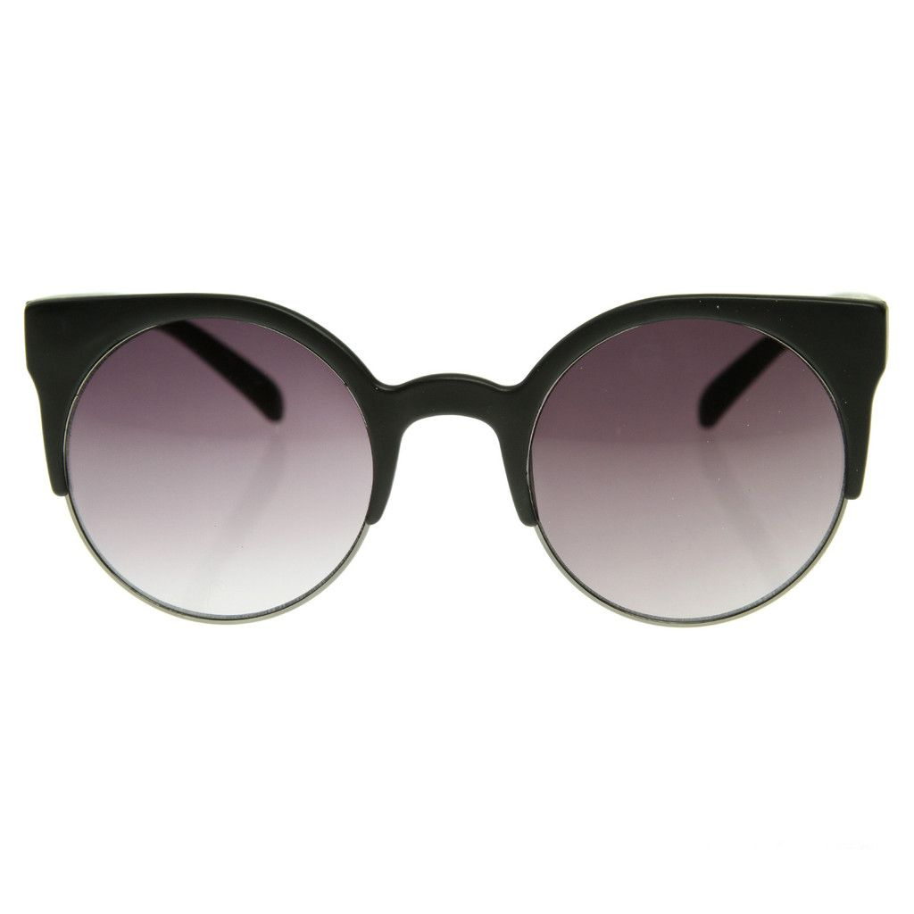 926abd8ad9 Womens Super Round Cat Eye Half Frame Sunglasses - zeroUV